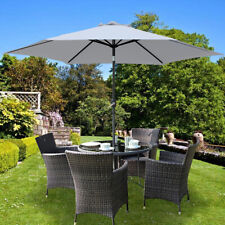 Grey Garden Parasol Round Outdoor Patio Sun Shade Umbrella with Crank Tilt 3 m