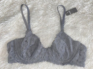 Aerie Bra Unlined Demi Bralette Floral Lace Crochet Underwire Gray 36A 36 A NWT