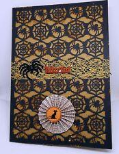 Black Spider Web with Orange Glitter Halloween Card set of 2 HANDMADE