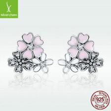 Daisy & Cherry New 925 Sterling Silver Stud Earrings Pink Enamel With CZ Jewelry