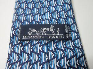 "HERMES Paris 100% Silk Tie 58"" Model 00556T03 MA Blue Fish RARE"