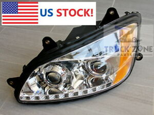 Kenworth T660 T700 Headlight Projector with Led Stripe Pair Left Right 2008-2016