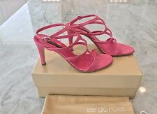 SERGIO ROSSI PINK LEATHER ANKLE STRAP CAGE HEELS SIZE IT 37.5 US 7.5