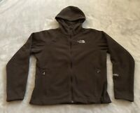 The North Face Windwall Womens Sz Small Brown Hooded Fleece Zip Up Jacket Used