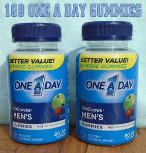 2 One A Day Men's VitaCraves Gummies Multivitamins Bottles 80 In Each Exp 8/2022