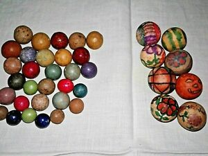 Lot of 38 Vintage Colorful Clay Marbles