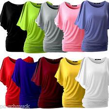 PD: Damen Oversize T-Shirt Shirts Tops Bluse Unifarbe Fledermaus S-XXL M12493