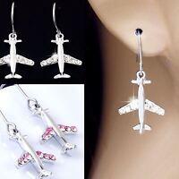 #E121S Pair PIERCED Hook Earrings Dangle Little Airplane Plane Crystal Deluxe