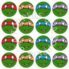 16x EDIBLE Teenage Mutant Ninja Turtles Cupcake Toppers Wafer Paper 4cm (uncut)