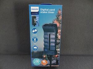 NEW Philips 6-Outlet Digital Yard Stake Outdoor Lighting Timer Home Power Daily