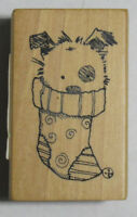 Inkadinkado Wood Mounted Rubber Stamp PUPPY DOG IN A CHRISTMAS STOCKING