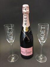 Moet Chandon Imperial Rose Champagner Flasche 0,75l 12% Vol. + 2 Moët Gläser