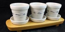 Longaberger WOVEN TRADITIONS CLASSIC BLUE 3 Flower Pots w/Underplates GREAT COND
