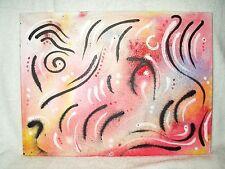 """Pintura De La Lona Arte Moderno Abstracto """"invisible movimiento' 16x12 pulgadas Acrílico"""