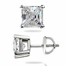 1.45 Ct Asscher Cut Solitaire Lab Stud Earrings 14K White Gold ScrewBack Pierced