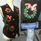 VTG Karen Scott Women XL Ugly Christmas Vest Wreath Poinsetta Party Holiday Red