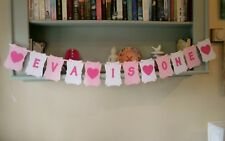 Personalised First Birthday Bunting Banner Any Age, Pink and White