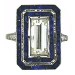 Art Deco Ring 925 Sterling Silver Halo Vintage Style Women Party Fine CZ Jewelry