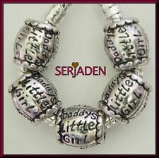 5 Daddys Little Girl Spacer Beads 10 x 11 & 5 mm hole Fits European Jewelry S197