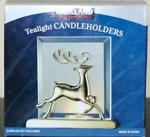 Kirkland Frosted Beveled 3D Silver Christmas Reindeer Tealight Candle Holder
