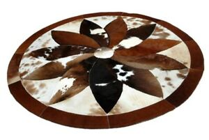 """100% Real Handmade Natural Cowhide Leather Carpet Area stitched  48"""" Carpet-3"""