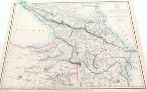 """.c1860 LARGE """"WEEKLY DISPATCH ATLAS"""" MAP of THE CAUCASUS."""