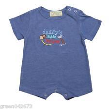 "Gardening Bear ""Daddy's Little Helper"" Short Sleeves Romper (Acid Blue), Newborn"