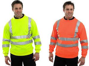 High Visibility Reflective Safety Protective Crew Neck Fleece Sweat Top. EN471