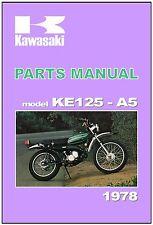KAWASAKI Parts Manual KE125 KE125-A5 1978 Replacement Spares Catalog List KS125