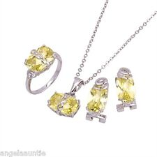 18K White Gold Filled CZ Necklace//Earrings/Ring/Pandent Set (S-136)