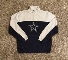 Dallas Cowboys Reebok Mens 1/4 Zip Fleece Pullover Medium Blue White Embroidered