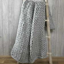 Chunky hand knitted grey throw