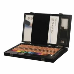 WHSmith 36 Watercolour Pencils Wooden Art Box With A4 Sketch Pad And Brushes