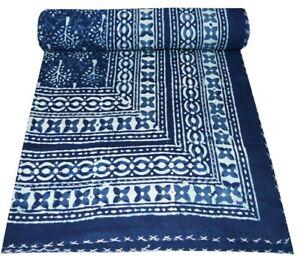 Queen Size Cotton Bedspread Indian Handmade Vintage Kantha Quilt Indigo Print