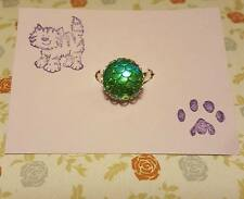 Handmade green/blue mermaid dragon scale silver plated adjustable ring