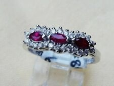 Beautiful 14K White Gold Diamond And Ruby Ring.