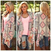 Girl Fashion Women Long Sleeve Tops Clothes Knitted Printed Cardigan Loose Coat