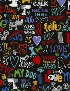 Animal Fabric - I Love My Dog Pet Words Black C5710 - Timeless Treasures YARD