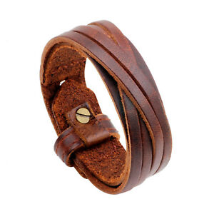 Men's Wristband Brown and Black Retro Wristband Faux Leather Wristband Bracelet