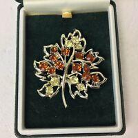 Vintage Leaf  Brooch Rhinestones 1960s Claw Set Pin Costume Jewellery Silvertone