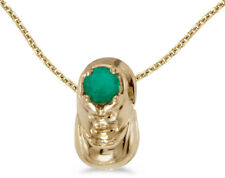 14k Yellow Gold Round Emerald Baby Bootie Pendant (Chain NOT included)