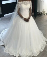 Tempting 2019 New Long Sleeves Ball Gown Tulle Lace Wedding Dresses Bridal Gowns