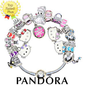 Pandora Bracelet Silver HELLO KITTY BIRTHDAY PARTY Pink with European Charms NEW