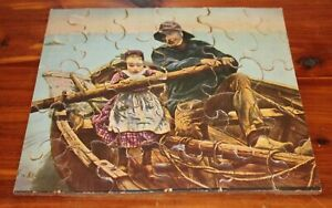 Vintage 1930's Old Man & Girl in Boat Wood Puzzle
