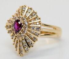 Gorgeous 14K Gold 1 Carat TW Diamonds &.40 Carat Ruby Cocktail Ring Size 6.5