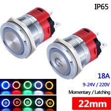 22mm Metal Push Button Switch Latching Momentary Illuminated Led Waterproof Ip65