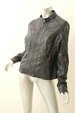 JOU JOU Black Leatherette Moto Jacket XXL