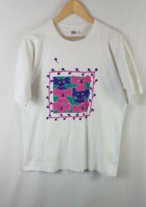 Koala Bears Scribbly Graphics Vintage T Shirt Large L White Single Stitch 90s