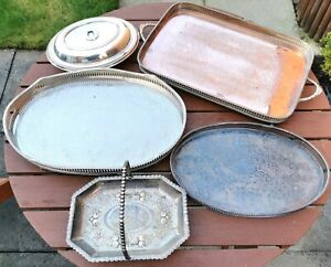 JOB LOT Vintage Trays, LARGE Trays, Worn Silver Plate, Gallery Trays, Baskets!!