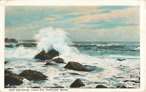 Postcard Surf and Rocks Casco Bay Portland Maine